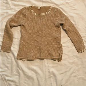 J Crew tan and white sweater size m